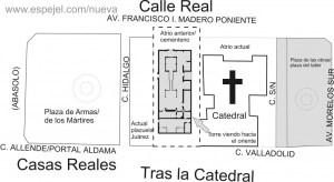 Probable ubicación de la Catedral Primitiva de Valladolid, con respecto de la actual