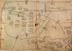 Plano de 1579-1580 de Valladolid, donde se aprecia la Catedral primitiva rodeada de su enorme plaza