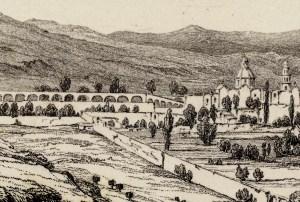 Morelia en 1828, por H.G. Ward, fragmento.