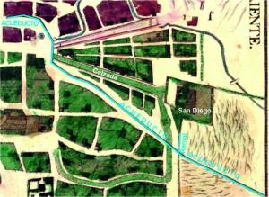 Parte suroriente de la ciudad en el plano de 1794, fragmento, con comentarios.