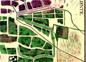 Parte suroriente de la ciudad en el plano de 1794, fragmento.