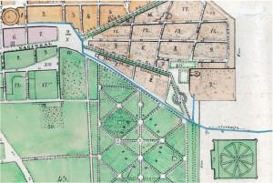 Parte suroriente de la ciudad en el plano de 1869, fragmento, con comentarios.