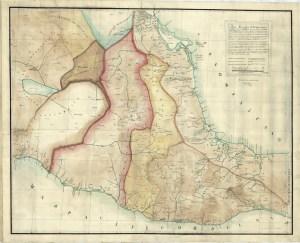 Mapa de la Mayor Parte del Virreynato de la Nueva España, 1793 (Recreación contemporánea por María Rosa Bideau A., 1983)