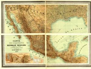 Carta Oro-Hidrográfica de la República Mexicana por Antonio García Cubas, 1878. Fuente: Mapoteca Manuel Orozco y Berra.