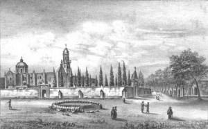 Templo y convento de San Diego. El cementerio aún tenía su barda atrial.