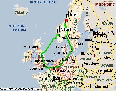 Haugesund til Trondheim via Newcastle