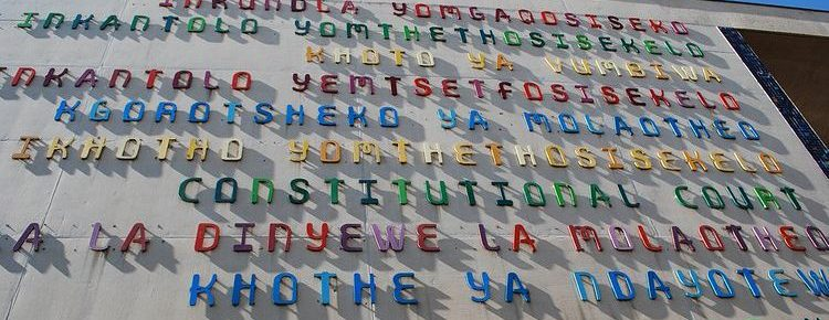 Multilingual sign at the Constitutional Court (image from: https://www.good.is/articles/mandela-day-south-african-language-literacy)