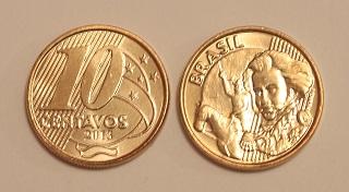 Moeda brasileira de dez centavos