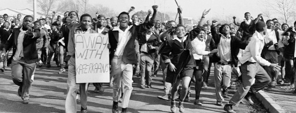 Students protest during Soweto Uprising (image from www.unisahistory.ac.za)
