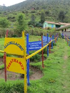 Welcome sign at Quechua school