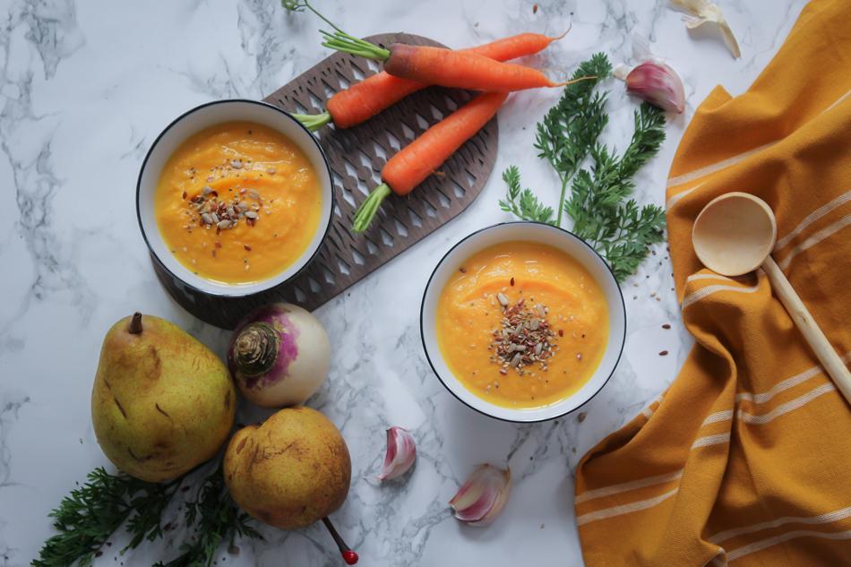 Velouté carottes, navet & poire