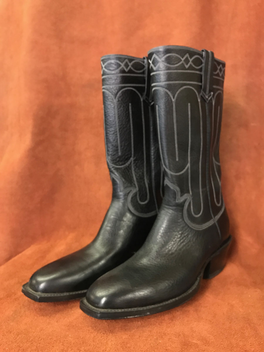 Black Stovepipe Cathedral Stitching Cowboy Boots