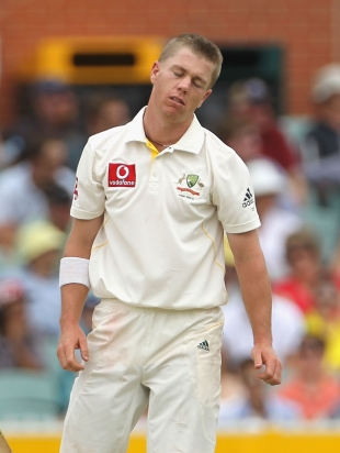 Xavier Doherty was given a torrid time by England's batsmen before lunch, Australia v England, 2nd Test, Adelaide, 3rd day, December 5, 2010