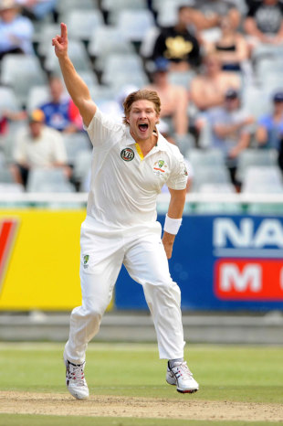 Shane Watson is pumped up after his five-for, South Africa v Australia, 1st Test, Cape Town, 2nd day, November 10, 2011