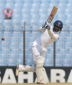 Kumar Sangakkara powers the ball down the ground, Bangladesh v Sri Lanka, 2nd Test, Chittagong, 2nd day, February 5, 2014