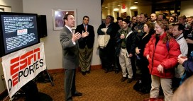 Then ESPN President George Bodenheimer (left) addressed employees during the Jan. 7, 2004 launch of ESPN Deportes. (Rich Arden/ESPN Images)