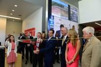 Mayor Ken Cockayne (l), Governor Dannel Malloy, ESPN President John Skipper, Sara Walsh and Congressman John Larson Digital Center-2 Fiber cutting ceremony.(Joe Faraoni / ESPN Images)