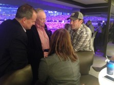 (L-R, facing the camera) ESPN's Don Van Natta Jr. interviews Dallas Cowboys owner Jerry Jones and quarterback Tony Romo. (Photo courtesy of Terry Stewart)