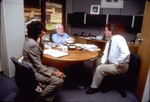 Then SportsCenter anchor Robin Roberts (left) speaks with ESPN executives John Walsh (center) and Steve Anderson in John's office back in 1998. (John Atashian/ESPN Images)