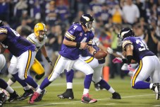 Green Bay vs. Minnesota (Oct. 5, 2009): ESPN's largest NFL audience ever (21,839,000) watches future Hall of Famer Brett Favre play his first game against his former Packers team as the Minnesota Vikings defeat Green Bay 30-23 on Monday Night Football. (Scott Clarke/ESPN Images)