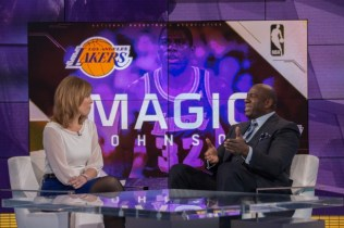 In February 2015, Hannah Storm interviews Magic Johnson on the SportsCenter set. (Rich Arden/ESPN Images)