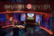 The final show on the old SportsCenter set with anchors Max Bretos and Matt Barrie. (Rich Arden/ESPN Images)