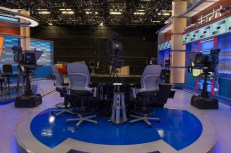 """""""The studio offers functionality from a variety of areas including: the main desk, a touchscreen position and a side location that doubles as either a debate desk or an interview lounge,"""" said Phil Skender, supervising director who was heavily involved in the redesign. (Rich Arden/ESPN Images)"""