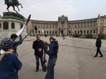 Jeremy Schaap filming in Vienna. (Michael Baltierra/ESPN)