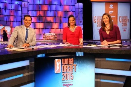 Rebecca Lobo at this year's WNBA Draft alongside Kevin Negandhi (l) and Carolyn Peck. (Allen Kee/ESPN Images)