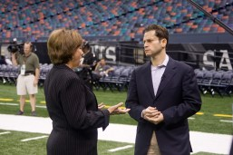 2006: Before the Louisiana SuperDome reopened little more than a year after Hurricane Katrina hit New Orleans, Jeremy Schaap speaks with then Louisiana Gov. Kathleen Babineaux on the field before a Monday Night Football game there. (Rich Arden/ESPN images)