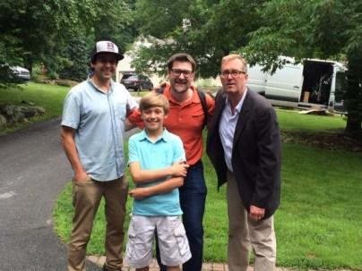"Photographer Bryan ""Twiz"" Brousseau, producer Ben Webber and reporter Greg Garber with Braeden Lange. (Photo courtesy Scott Lange)"