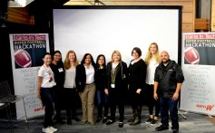 ESPN employees who served as hackathon judges: (third from left) Katie Tomezsko, Director of Product Management, ESPN Digital Media; (fourth from left) Sereita Cobbs, Director of Content Integration & Strategy, espnW; (fifth from left) Christine Kim, Director of Product Management, ESPN Digital Media. (Alexander Mendioro/Girls in Tech)