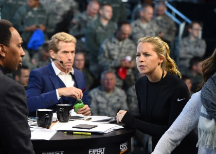 Project Manager Therese Andrews, (right), works with First Take's featured commentators Skip Bayless (center) and Stephen A. Smith on a remote shoot last year. (Joe Faraoni/ESPN Images)
