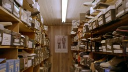 At one point in the film, a size 26 dress shoe is seen. Here's a look at the rows of shoes at Friedman's. (ESPN Films)