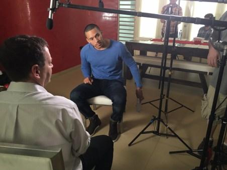 Buster Olney (L) interviews Carlos Correa for E:60. (Max Brodsky/ESPN)