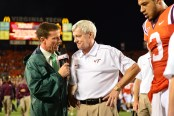 In 2012, Quint Kessenich interviews Virginia Tech football coach Frank Beamer. (Phil Ellsworth/ ESPN Images)