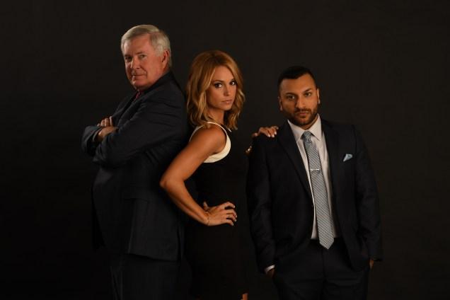(L-R) Mack Brown, Molly McGrath and Adam Amin. (Joe Faraoni/ESPN Images)