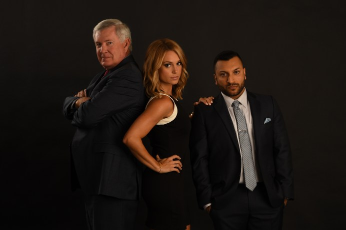 (L-R) Mack Brown, Molly McGrath and Adam Amin. (Joe Faraoni/ESPN Images)