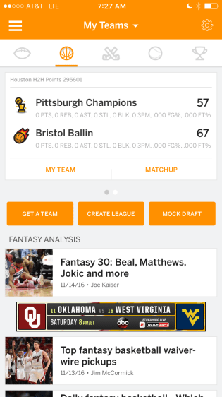 ESPN Fantasy Basketball has experienced a 53-percent increase in signups this year.
