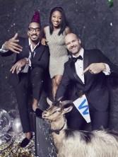 Simone Biles (center) is flanked by JR Smith (L) and David Ross. Haulin' Goats provided the goat. (Mark Williams & Sara Hirakawa)