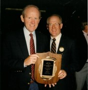 The Pro Football Writers Association honored Will McDonough (L) in 1990 with its Dick McCann Award, symbolic of distinguished contribution to pro football through coverage. (Photo courtesy of the Pro Football Hall Of Fame)
