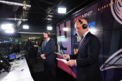 Analyst Jon Gruden and Sean McDonough (foreground) will be on the call for ESPN's MNF telecast of Ravens at Patriots. (Joe Faraoni/ESPN Images)