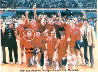 Karch Kiraly and Paul Sunderland helped the U.S. win Olympic gold in men's volleyball during the 1984 Los Angeles Games. (Photo courtesy of Paul Sunderland)