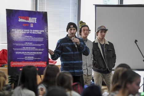 X Games co-host and former snowboarder Jack Mitrani (with mic) addresses X Games Shred Hate School Sessions. (Eric Lars Bakke/ESPN Images)