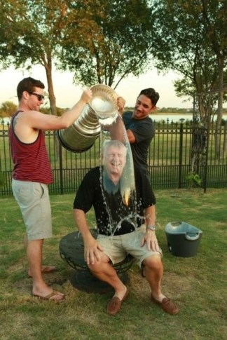 Molly's father, Michael McGrath, does the ALS Ice Bucket challenge with the Stanley Cup. (Photo courtesy of Molly McGrath/ESPN)