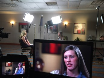 Reporter Paula Lavigne interviews former IU rower Katlin Beck. (Willie Weinbaum/ESPN)