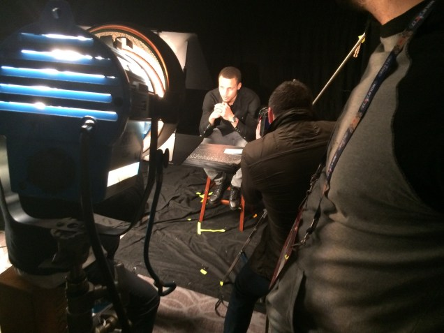 Golden State Warriors star Steph Curry prepares for his close up. (Thomas Kinter/ESPN)