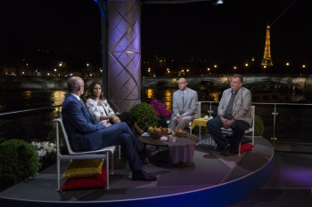 (L-R) Frank Leboeuf, Julie Foudy, Kasey Keller and Gabriele Marcotti report from Paris during the 2016 UEFA European Championship. (Arnaud Pedersen/ESPN Images)