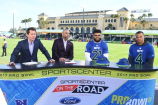 (L-R) Matt Barrie, Herm Edwards, Ezekiel Elliott and Dak Prescott are on the set of SportsCenter at the 2017 Pro Bowl. (Scott Clarke/ESPN Images)
