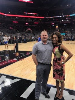 Tom Engle and Sage Steele in San Antonio during the Western Conference Finals. (Photo courtesy of Sage Steele)
